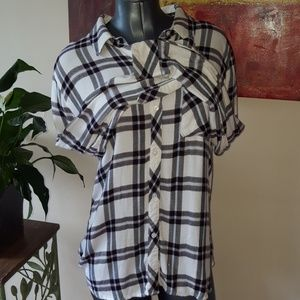 RAILS HUNTER white black plaid button down